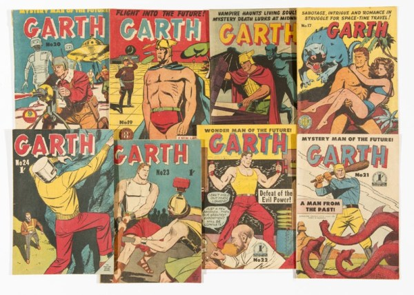 Issues of the Australian Atlas reprints of the Mirror newspaper strip Garth, published in 1949.