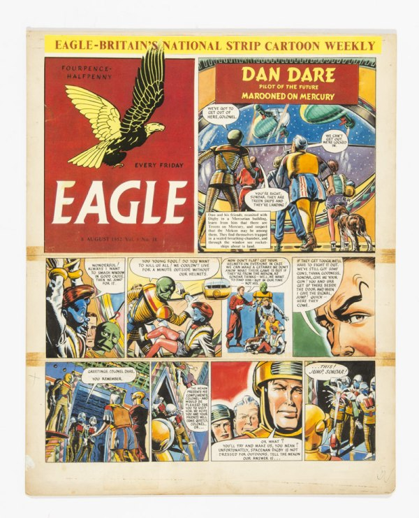 Dan Dare original cover artwork from The Eagle (1952) Vol 3: No 18 Layout and pencils by Frank Hampson, completed art by Harold Johns and Greta Tomlinson.