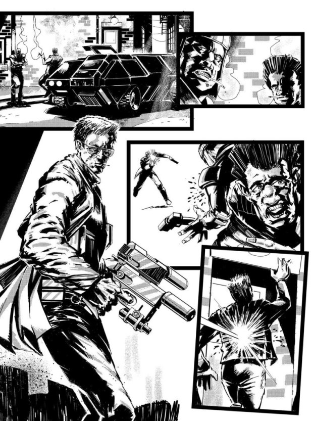 "Jake Lynch's unlettered art for Page Two of ""Orlok: Agent of East-Meg One: Eurozoned"" Episode 3"