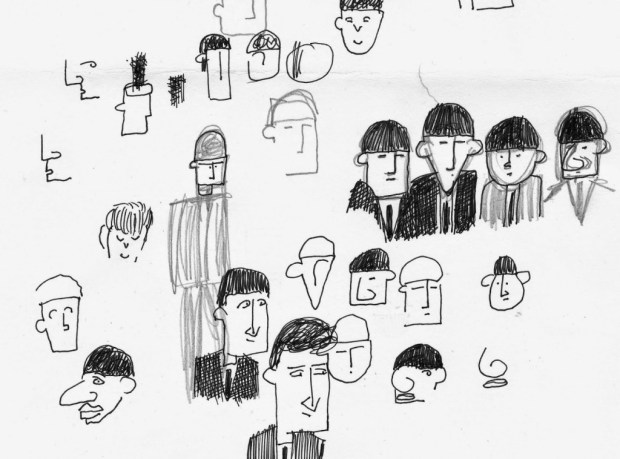 """Darryl's """"Beatles Scribbles"""", part of his prep for his next project, which will be a collaboration with two other cartoonists."""