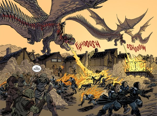 A spread from Orcs Forged For War by Stan Nicholls and Joe Flood - creators who will be interviewed in the first issue of the planned European Comics Journal.
