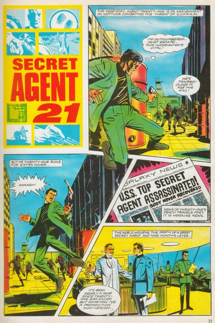 John Cooper's first comic strip work, a Secret Agent 21 story for the 1968 annual, which had the working title