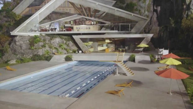 The new Tracy Island headquarters. This shot shows the swimming pool and central lounge.