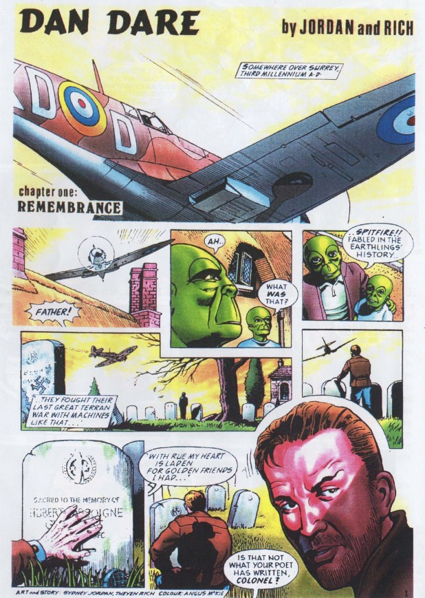 "The only published episode of ""Dan Dare"" for the Planet on Sunday newspaper."