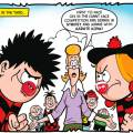It's Dennis versus Minnie in the The Beano's Read Nose Day Special. Art by Nigel Parkinson.
