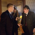 "Ben McKenzie as Detective James Gordon and Robin Lord Taylor as Oswald Cobblepot in ""Gotham: Everyone Has A Cobblepot"""
