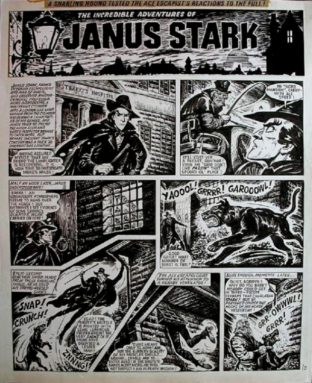 "A typical page of ""Janus Stark"", drawn by Solano Lopez."