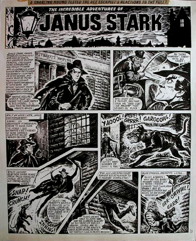 "A typical page of ""Janus Stark"", drawn by Solano Lopez. Janus Stark © Rebellion Publishing Ltd"