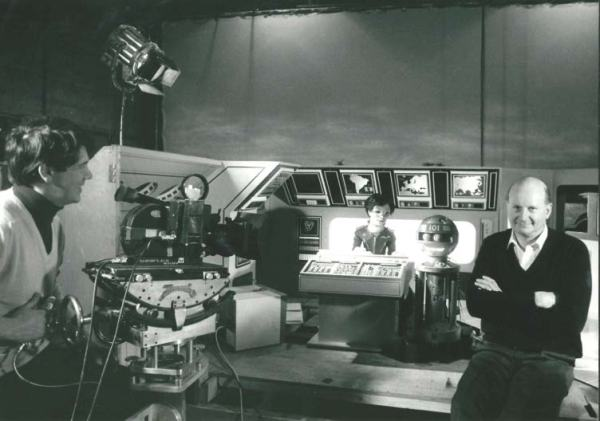 Gerry Anderson (right) on the set of the original Terrahawks show.