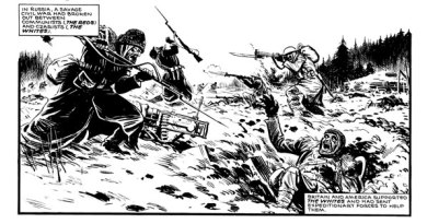 """A scene from the Russian Civil War from """"Charley's War"""". Story by Pat Mills, art by Joe Colquhoun"""