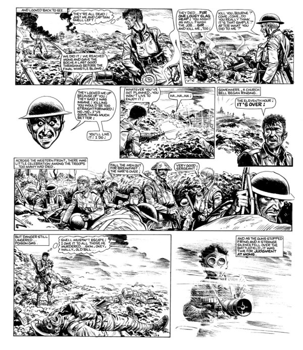 "Grim war time action in ""Charley's War"", with art by Joe Colquhoun."