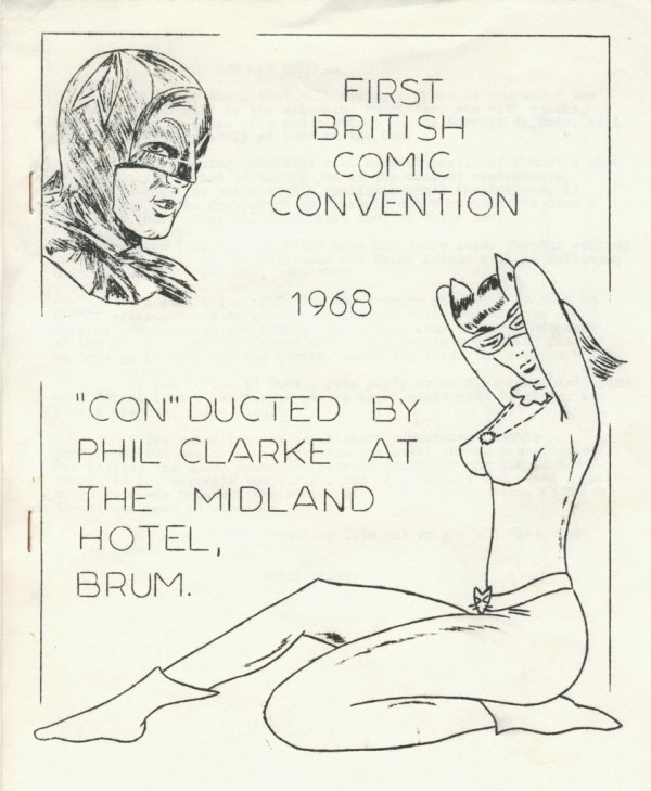 The cover for the convention booklet for Britain's very first comics convention in Birmingham in 1968, produced two hours before the event started.