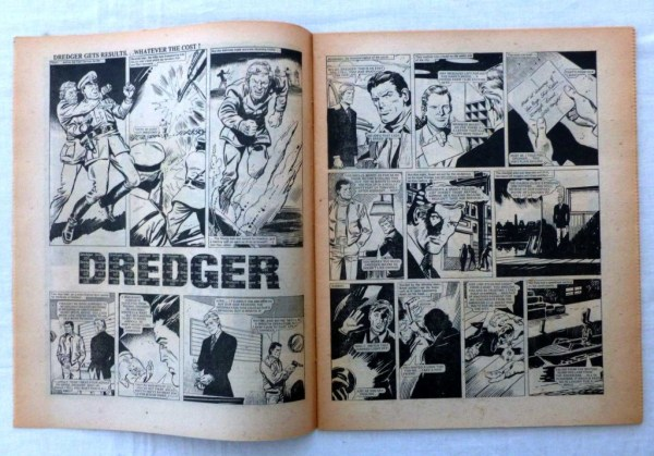 "The opening spread of ""Dredger"" from Action Issue 37, offered on eBay in 2015."