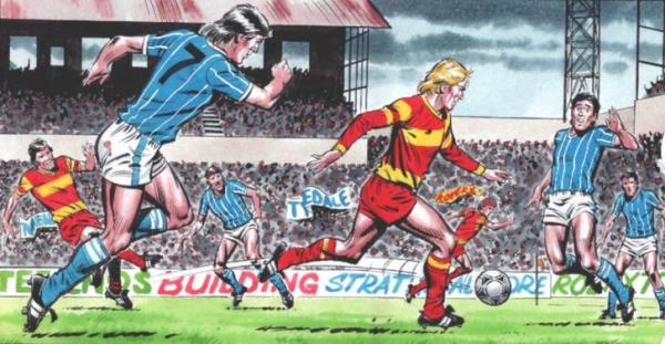 A panel of Roy of the Rovers in action by David Sque, running onto a pass from Blackie Grey! Roy of the Rovers © Rebellion