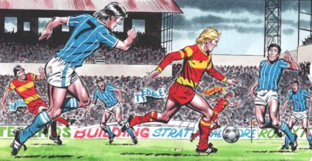 A panel of Roy of the Rovers in action by David Sque, running onto a pass from Blackie Grey! Roy of the Rovers © Egmont UK
