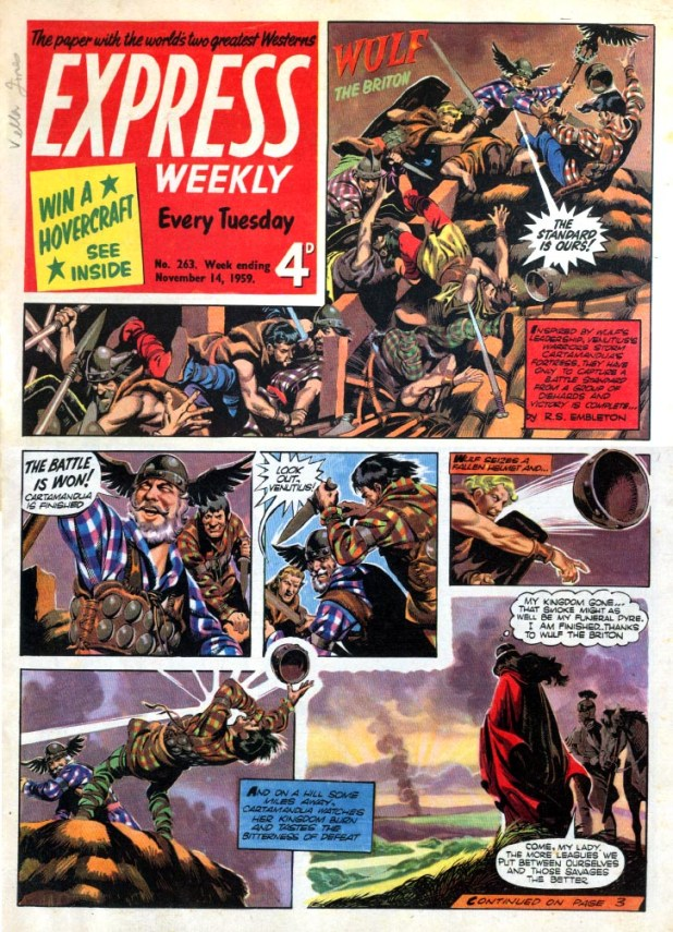 """Express Weekly Issue 263, published in 1959, featuring """"Wulf the Briton"""" by Ron Embleton"""