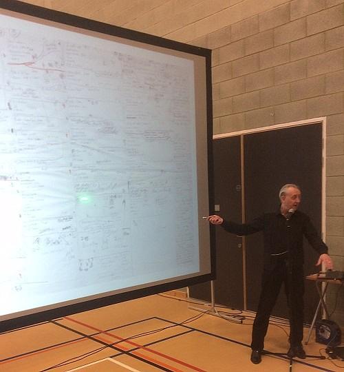 Bryan Talbot in full flow at his workshop at Wonderlands 2015. Photo: John Swan