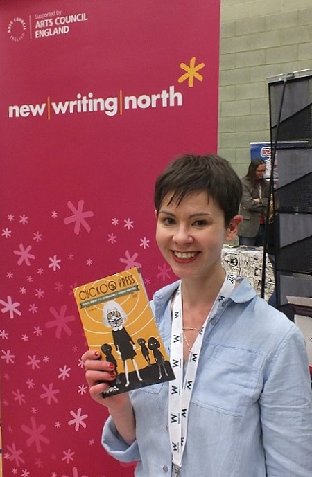 Laura Brewis shows off the Cuckoo Press publication for new writers in the North East of England at Wonderlands 2015. Photo: Jeremy Briggs