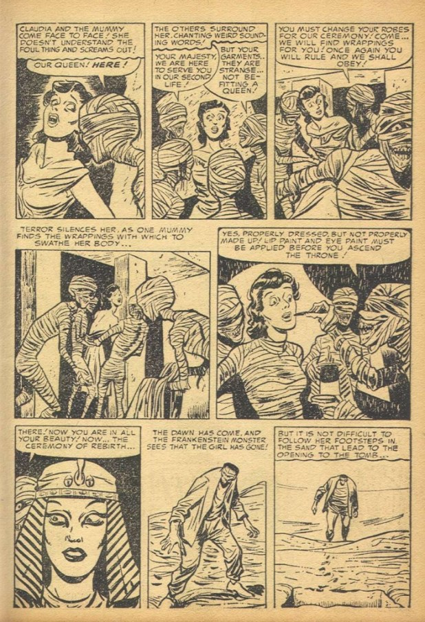 A sample page from Frankenstein Comics #2. Mummies decide to make the Frankenstein monster's hapless love interest their queen.