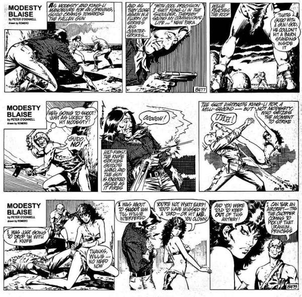 """The missing """"Guido the Jinx"""" strips from The Killing Distance collection. Modesty Blaise © 2015 Associated Newspapers/Solo Syndication"""