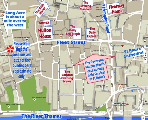 Fleet Street, 1963 - locations of interest overlaid by Roger Perry on a modern map (via Google).