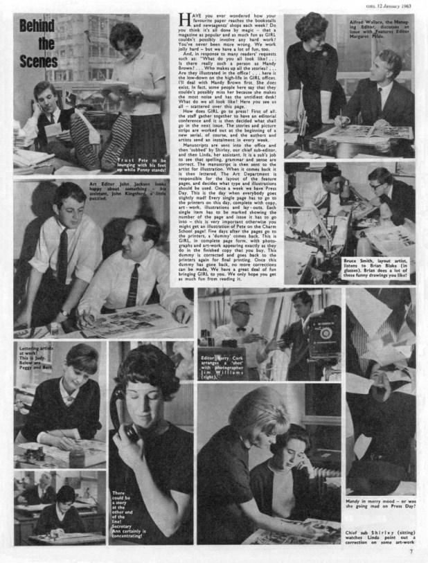 Behind the scenes staff on Girl, a feature in the issue cover dated 12th January 1963.