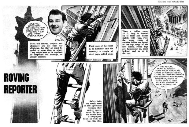 """A half page Roving Reporter strip from a 1963 issue of Eagle featuring Roger Perry's alter ego, """"Larry Line"""""""