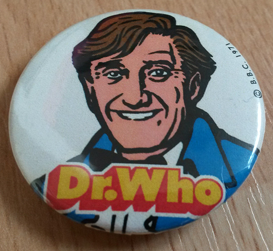 Ron Moody graces this fake Doctor Who badge as the Third Doctor, the creation of designer Colin Brockhurst