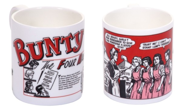 """Mugs based on art from Bunty's long-running """"The Four Mary's"""" strip"""