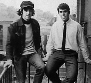 Donovan and Max Clifford on the fire escape at 96 Long Acre. Photo: Roger Perry