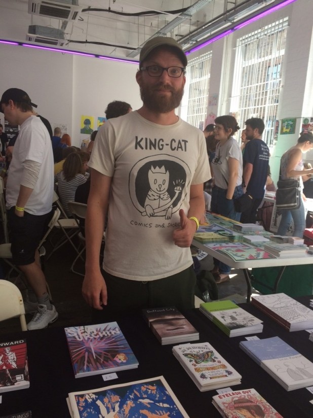 Simon Moreton - ready and waiting for comic readers at Safari Festival 2015. Photo: Tony Esmond