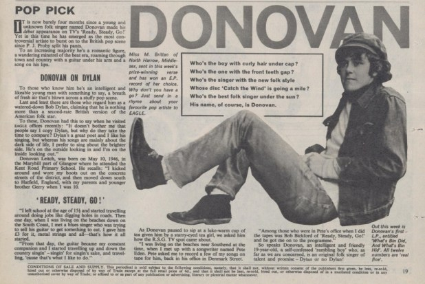 """Pop Pick"" Donovan, as he appeared in Eagle Volume 16 Number 22, cover dated 29th May 1965."