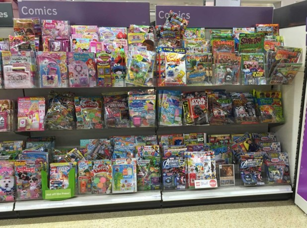"Sainsbury's Lancaster Comic Section, August 2015. In addition to this display, comics feature in a separate ""Recommended Reading"" section on the end of this aisle, its titles including The Beano, Skylanders and other titles."