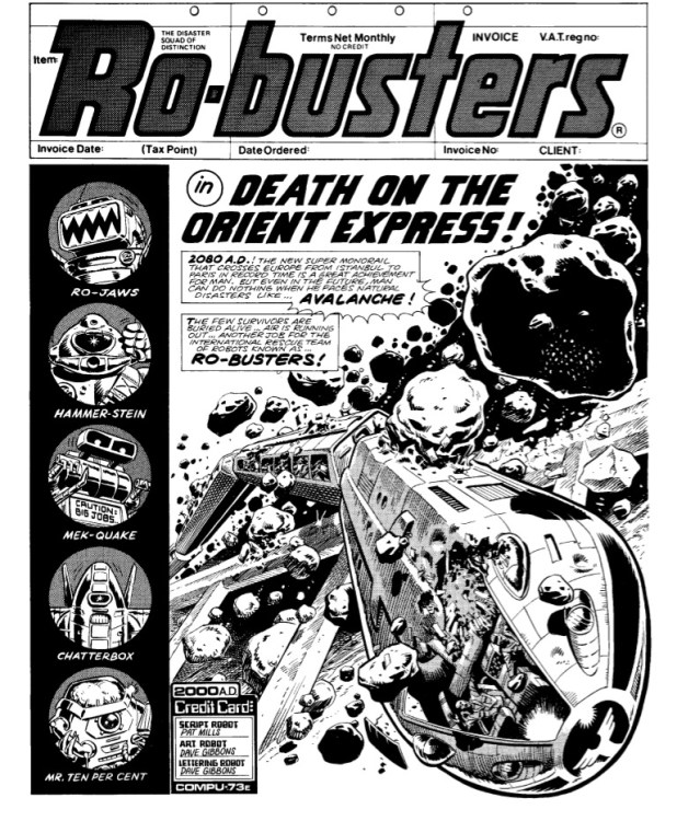 """The opening page of """"Ro-Busters: Death on the Orient Express, Part One"""" from 2000AD Prog 86. Script by Pat Mills, art by Dave Gibbons"""
