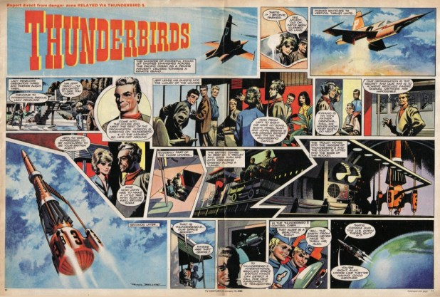 The first ever Thunderbirds comic strip, drawn by Frank Bellamy, published in TV Century 21 Issue 52