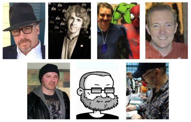 Blackpool Comic Con's comics guests - Ande Parks, Tim Quinn, Lee Townsend, John Royle, Lee Bradley, Tim Quinn, Dave Windett and Nick Brokenshire.