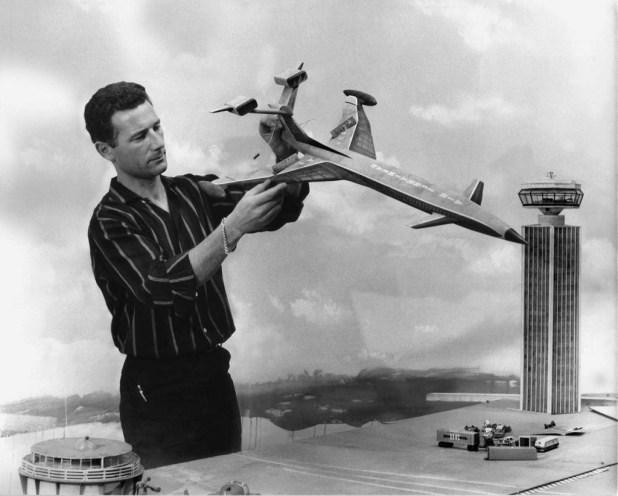 Derek Meddings at work on the Fireflash model for Thunderbirds