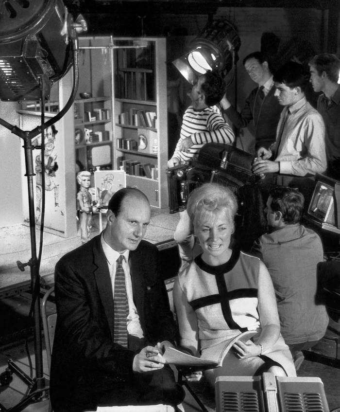 Gerry and Sylvia Anderson on the set of Thunderbirds during filming of the episode Move – And You're Dead.