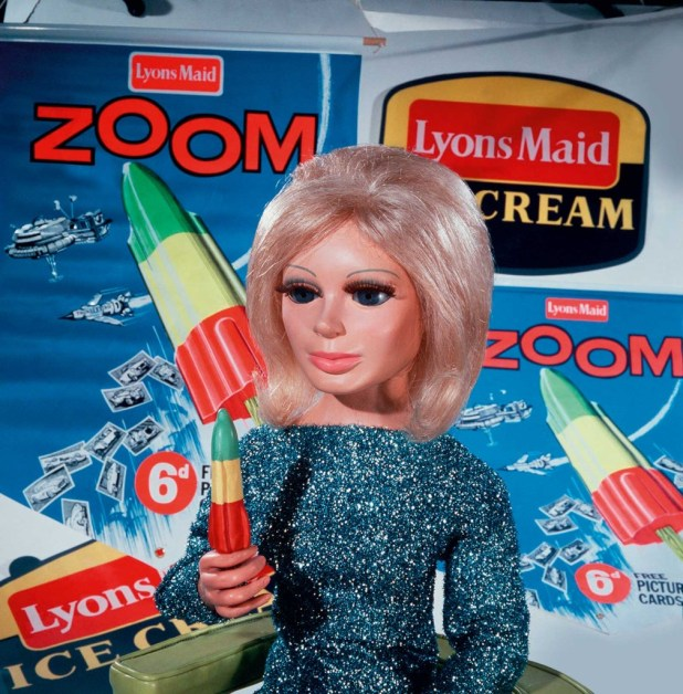 Lady Penelope promoting Zoom, a rocket shaped ice lolly by Lyons Maid in 1965 , based on Thunderbird 1's design.