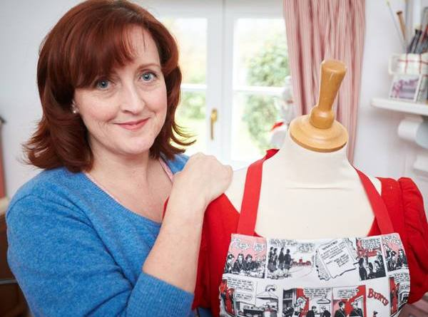 Paula Daly with a Bunty apron