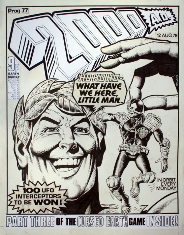 Brian Bolland's original cover art for 2000AD Issue 77