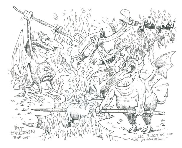 Hunt Emerson's cartoon comment on the 2015 UK General Election.