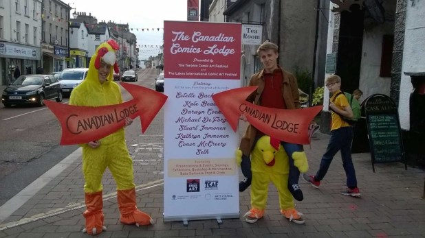 Why did the chicken cross the road? To direct fans to the Canadian Comics Lodge, of course! Photo courtesy Lakes International Comic Art Festival