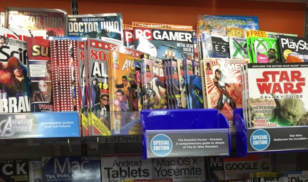 """WH Smiths Lancaster's """"teen"""" comics and magazine section, 29th September 2015, which as well as Panini's superhero reprints, also features 2000AD, Commando and Judge Dredd Megazine."""