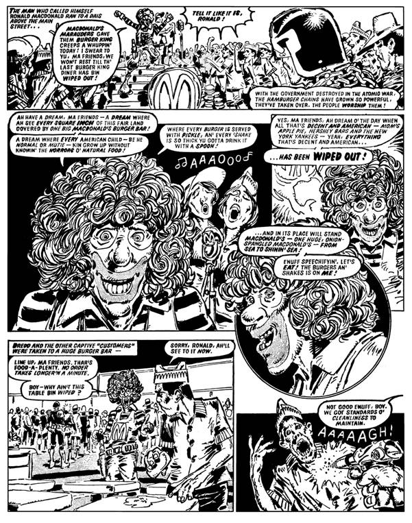 "A page from ""Burger Wars"", published in 2000AD Prog 72"