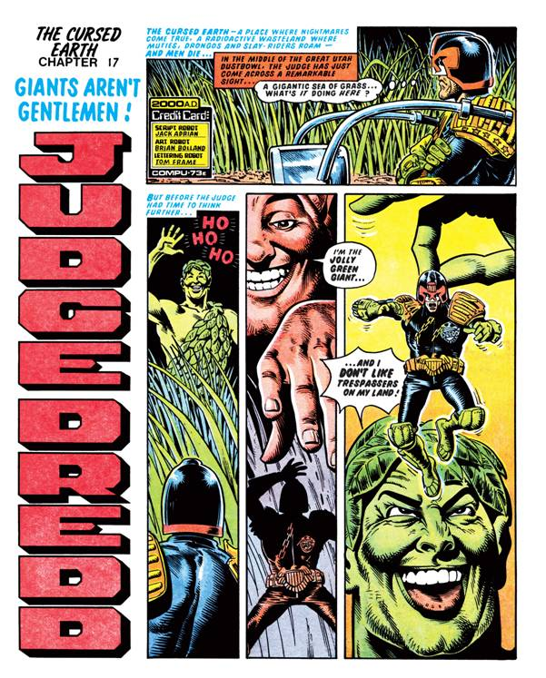 The opening page of the 'banned' Judge Dredd episode published in 2000AD Prog 77.