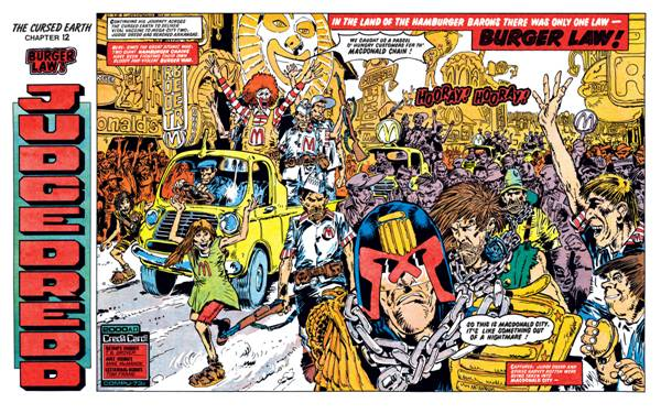 """The opening spread of the """"banned"""" Judge Dredd episode from 2000AD Prog 72."""