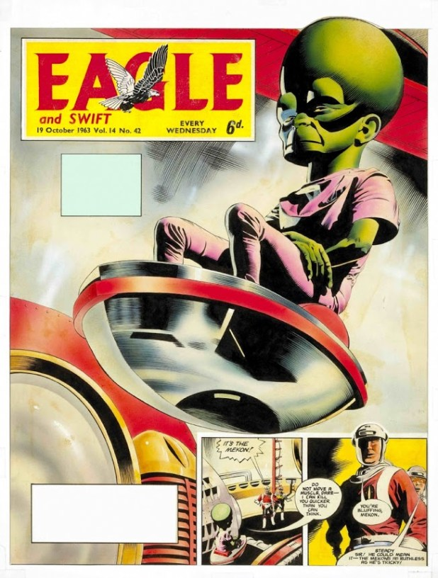 The Mekon returns to cause havoc in 'The Wandering World'. This is the original art for an Eagle cover by Keith Watson.
