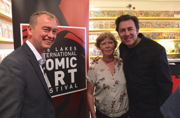 Liberal Democrat leader Tim Farron MP, Lakes Festival Director Julie Tait and Jonathan Ross at Orbital Comics last week. Photo courtesy Julie Tait