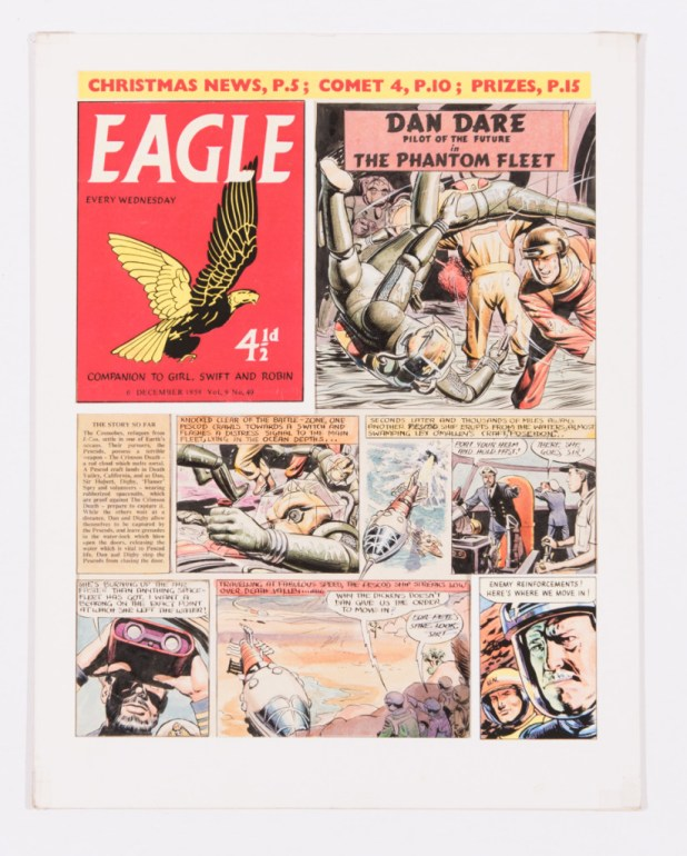 Dan Dare original artwork for Eagle Volume 9 No 49 (1958) by Don Harley. The small lower panel is a colour photocopy. These visuals were generally discarded once the finished artwork was completed and surviving pieces are rare. Notice the lower panel text 'for Pete's sake, look, sir!' was changed to 'Look, sir' in the final artwork (this board illustrated in Hawk Books No 8 'The Phantom Fleet') and the hand of editor the 'Rev' Marcus Morris may have been at play here. Watercolour on board. 14 x 14 ins